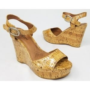 Lucky Brand Lindey Lacquered Cork Wedges Size 7